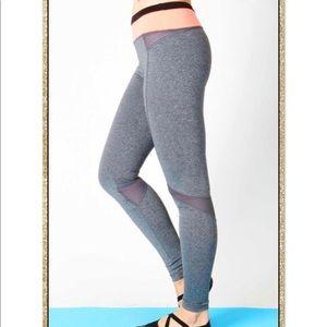 'All In' Grey Neon Coral Athletic Leggings